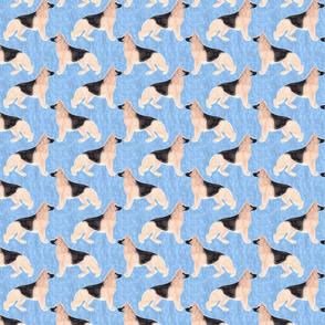 Small German Shepherd dog watercolor profile - blue