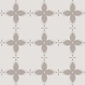 Bobby Jo: Warm Gray Floral Bandana Pattern, Warm Grey Geometric Floral