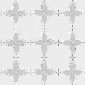 Bobby Jo: Pure Gray Floral Bandana Pattern, Grey Geometric Floral