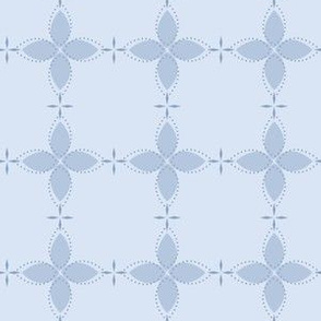 Bobby Jo: Chambray Blue Floral Bandana Pattern, Geometric Floral