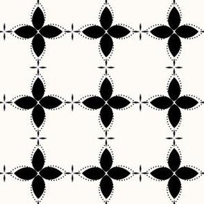 Bobby Jo: Black & Cream Floral Bandana Pattern, Geometric Floral