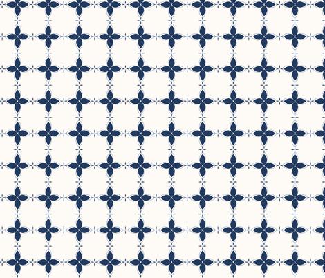 Bobby Jo: Navy & Cream Floral Bandana Pattern, Geometric Floral fabric by dept_6 on Spoonflower - custom fabric
