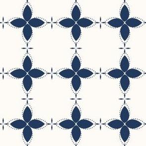 Bobby Jo: Navy & Cream Floral Bandana Pattern, Geometric Floral