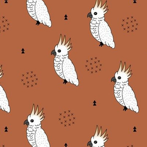Sweet minimal style cockatoo birds illustration pattern copper