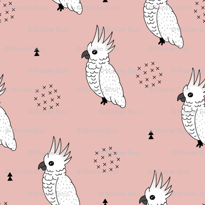 Sweet minimal style cockatoo birds illustration pattern soft pink girls