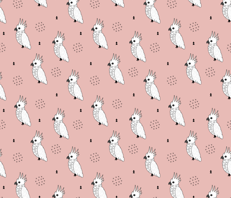 Sweet minimal style cockatoo birds illustration pattern soft pink girls fabric by littlesmilemakers on Spoonflower - custom fabric
