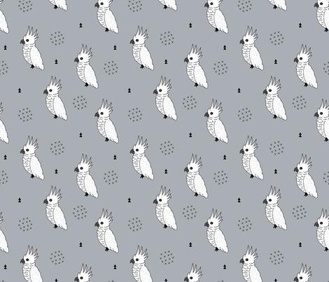 Sweet minimal style cockatoo birds illustration pattern blue gray fabric by littlesmilemakers on Spoonflower - custom fabric