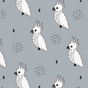Sweet minimal style cockatoo birds illustration pattern blue gray