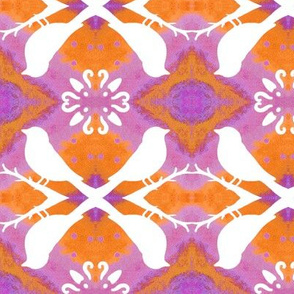 Lavender Orange with Bird Silhouettes