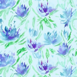 Watercolor peonies on mint || floral pattern