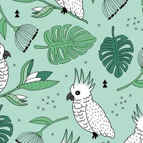 Sweet tropical jungle cockatoo birds illustration summer pattern mint green gender neutral