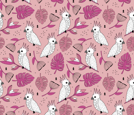 Sweet tropical jungle cockatoo birds illustration summer pattern pink peach fabric by littlesmilemakers on Spoonflower - custom fabric