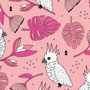 Sweet tropical jungle cockatoo birds illustration summer pattern pink peach