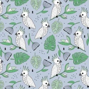 Sweet tropical jungle cockatoo birds illustration summer pattern mint green gray gender neutral MEDIUM
