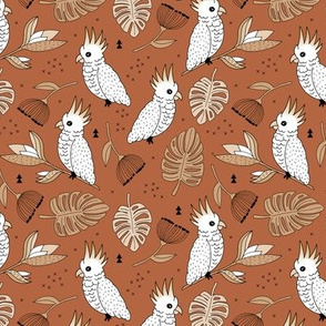 Sweet tropical jungle cockatoo birds illustration summer fall pattern copper boys gender neutral MEDIUM
