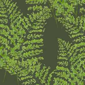 Feathery Ferns, green on green