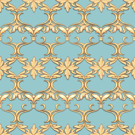 Golden scrolls on blue fabric by gribanessa on Spoonflower - custom fabric