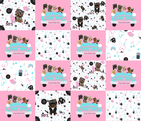 50's Rock'n Yorky Friends fabric by sherry-savannah on Spoonflower - custom fabric