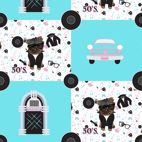 "50's Rockin Jamboree CYL 4"" squares - BOY fabric by sherry-savannah on Spoonflower - custom fabric"