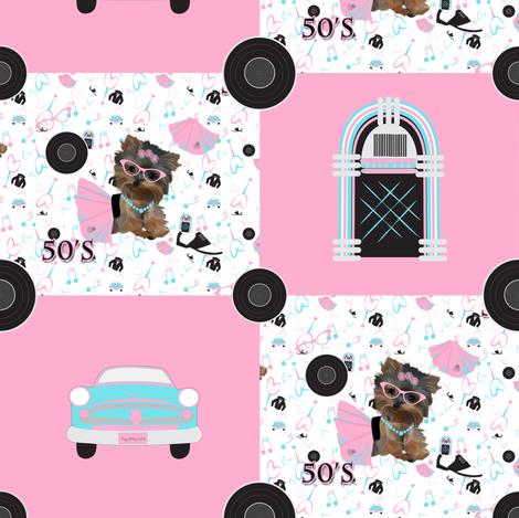 "50;s Rockin Jamboree - CYL - 4"" squares fabric by sherry-savannah on Spoonflower - custom fabric"
