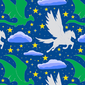 Pegasus & Dragon, Navy Blue Sky