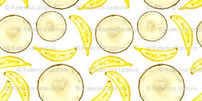 Tropical treats || banana coconut watercolor pattern