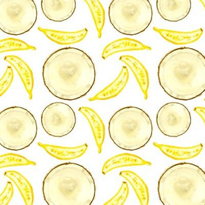 Tropical treats || banana coconut watercolor pattern