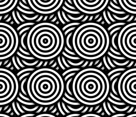 Op Art BW Circles fabric by andrea_haase_design on Spoonflower - custom fabric