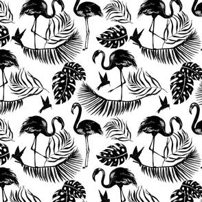 Flamingo And Tropical Leaf