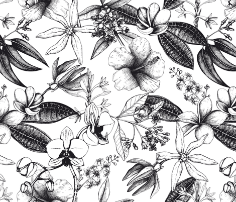 Vintage Tropical Flowers fabric by andrea_haase_design on Spoonflower - custom fabric