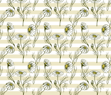 Camomile on a yellow stripes fabric by liliya_sudakova on Spoonflower - custom fabric
