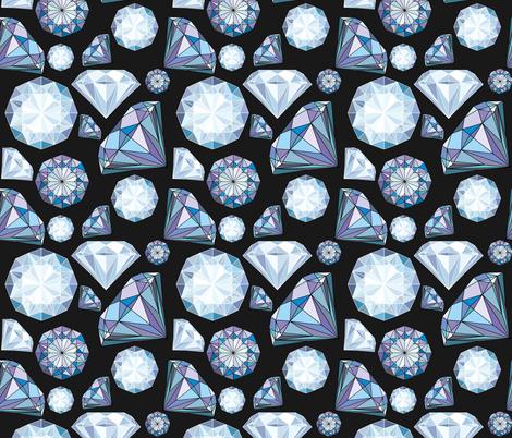 Diamond and Crystals on a black background fabric by liliya_sudakova on Spoonflower - custom fabric