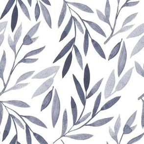 grey watercolor leaves