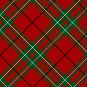 "Cumming / Comyn red tartan, diagonal  6"""
