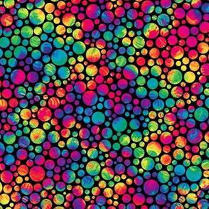 crazy rainbow dots on black - half size