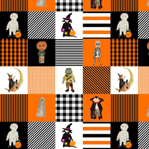 Halloween Hand-Painted Witches and Monsters Cheater Quilt