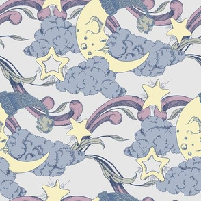 Clouds, stars and crescent pastel colors