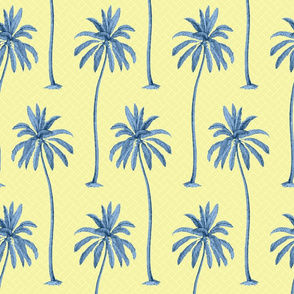 Blue Palm Trees on Yellow Basket Weave