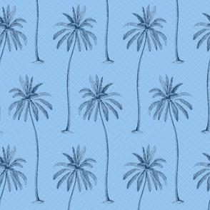 Blue Palm Trees on Blue Basket Weave background