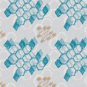 Teal Grey Mustard diamond geometric