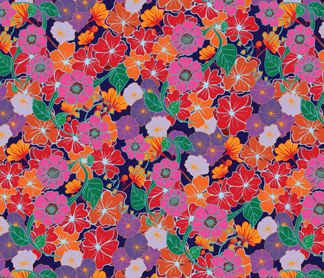 Bright flowers fabric by lucyconway on Spoonflower - custom fabric