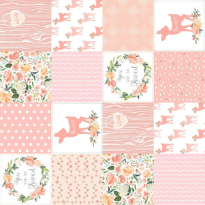 Woodland Baby Deer Quilt – You Are So Loved – Peach Patchwork Floral Wholecloth (rotated)