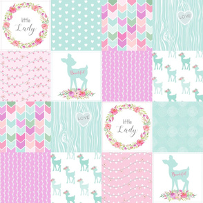 Deer Cheater Quilt – Little Lady – Mint Pink Lilac Patchwork Floral Wholecloth