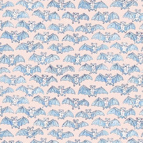 Tiny Blue Batty Bats | White Polka Dots on Peach Background fabric by imaginaryanimal on Spoonflower - custom fabric