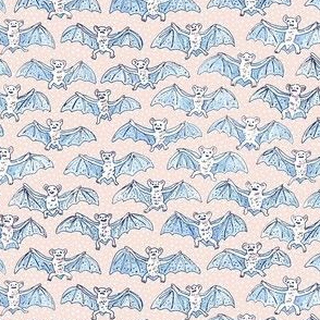 Tiny Blue Batty Bats | White Polka Dots on Peach Background