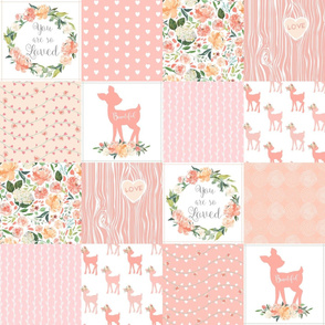 Woodland Baby Deer Quilt – You Are So Loved – Peach Patchwork Floral Wholecloth