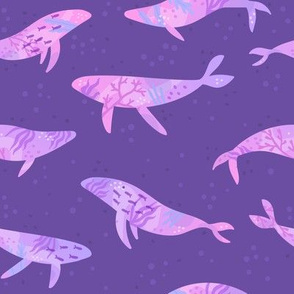 Violet sea with whales