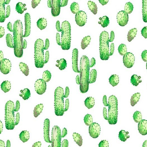 watercolor pattern with green cactus