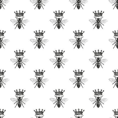 Queen Bee Pattern | Black and White fabric by eclectic_at_heart on Spoonflower - custom fabric