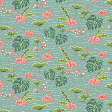 Water Lilies fabric by sheri_mcculley on Spoonflower - custom fabric